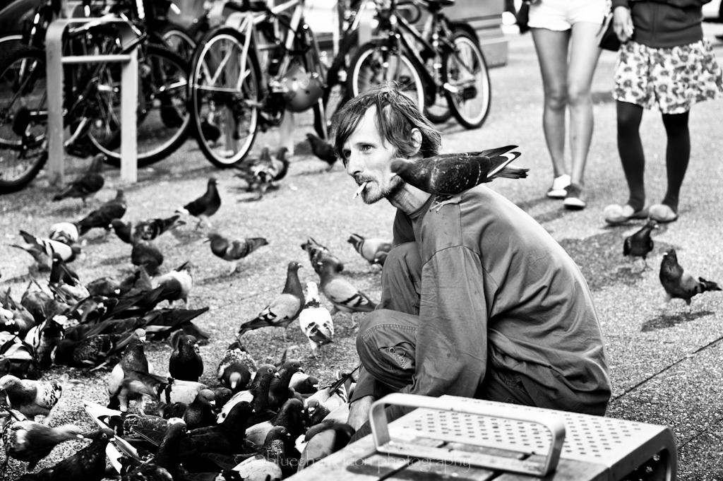 ::bird man of granville street:: Taken: September 5, 2012 Vancouver, British Columbia