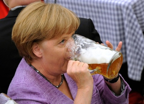 Angela Merkel drinks a very large glass of beer (via Angela Merkel drinks a very large glass of beer - PhotoBlog)
