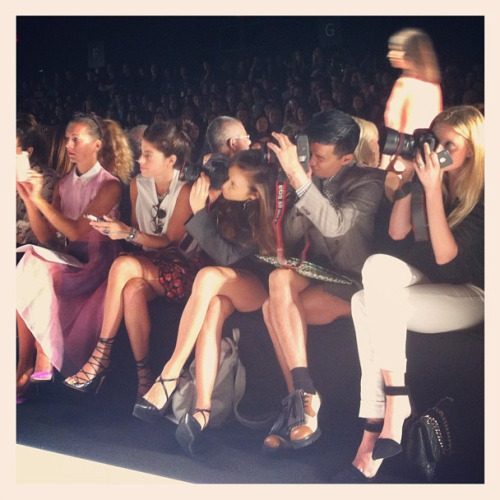 The front row at BCBG is buzzing w bloggers: Natalie Joos, Leandra Medine, Rumi Neely, Bryanboy, Candice Lake Photographed by Jane Keltner de Valle