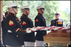 Sgt. Maj. Micheal P. Barrett, the 17th Sergeant Major of the Marine Corps, participates in the military funeral for retired Sgt. Maj. Henry H. Black, the 7th Sergeant Major of the Marine Corps, at Quantico National Cemetery, Triangle, Va.  U.S. Marine Corps photo by Cpl. Cody A. Fodale