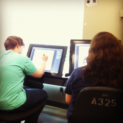 Big cintiq times in the 3rd year studio (Taken with Instagram)