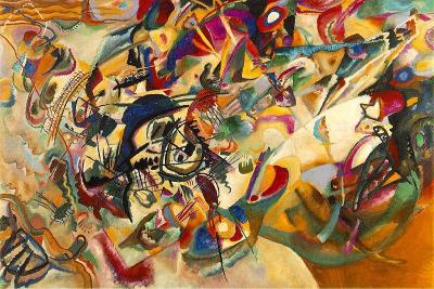 "thegreenwoodtreegallery:  Wassily Kandinsky - Composition VII Wassily Kandinsky wanted to be free from depicting the things we can lay our hands on because he wanted to portray truths and emotions more profound than those encompassed in a simple object.  He wanted art to be able to go straight into your heart with a power and immediacy like that of music.  And so in many ways, he used musical metaphors for his art.   This painting is called a ""composition.""  Others were ""improvisations.""  In the painting, he chooses orange not because it signifies a citrus fruit, but because it expresses a specific emotion that can't necessarily be put into words.  He chooses black lines not to draw a shape, but because of the depth of feeling they add, and the way they direct the motion of the painting.  He uses these colors like a composer uses notes, and spreads them across his composition in collections that have a certain visual ""rhythm.""  But no color stands entirely on its own.  Instead, Kandinsky places one color next to another so that there's an energy that comes from the combination.  A red next to a green, for instance, creates a very different feeling inside of you than a red next to an orange.  This is something like a visual analog of musical harmony and dissonance.  And with his entire orchestra of colors and textures, Kandinsky's composition leaps and twirls and dances across the canvas like a grand symphony.   When we begin to appreciate the painting's essence, like music, it can touch our hearts in a way that a picture of, say, an apple, cannot."