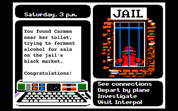 "slacktory:   2. Where in Jail Is Carmen Sandiego? After being found with a copy of the Mona Lisa in Guatemala, Carmen Sandiego was sent to a maximum security federal prison in Colorado. Players help her complete menial tasks, forge alliances among non-fedora wearing gangs of inmates, and earn her GED.  From Five Forgotten Educational Videogames, By the Author of ""Fake Science 101″ I'm psyched we got the man behind Fake Science to do this post. It's really, really good.  Read the piece for screenshots of ""Dysentery!"" and ""Mavis Beacon Takes a Few Minutes for Herself""."