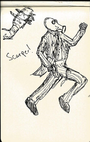 Foster Running From FP  Black Pen on Moleskin