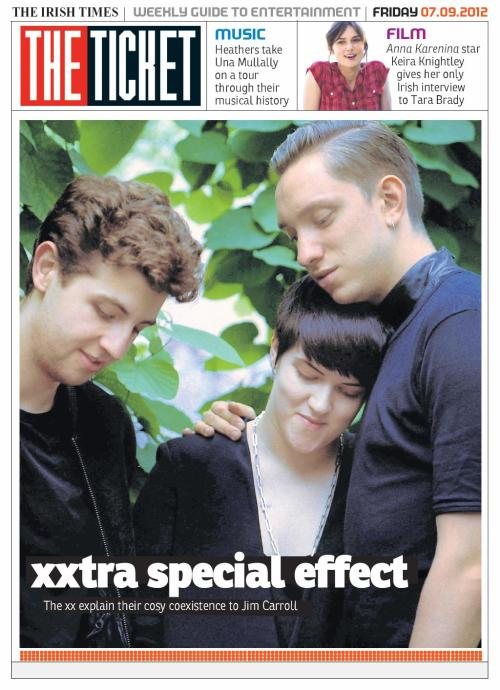 An xtra special Ticket tomorrow featuring: Picnic stars The xx; Keira Knightley; Grizzly Bear's Ed Droste; geo-musical memories from Heathers; James Murphy from LCD; plus all the regulars . Don't miss it, tomorrow with The Irish Times