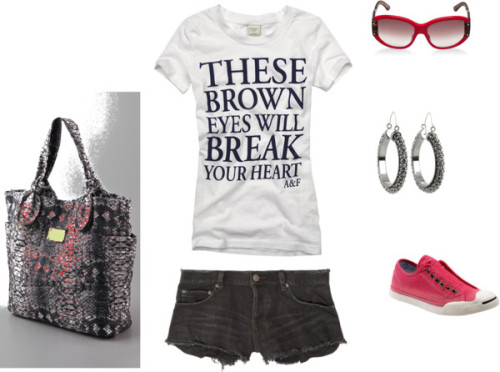 Casual by raven-m featuring cutoff shortsKsubi cutoff shorts, $140 / Converse slip on shoes / Marc by Marc Jacobs tote handbag / Chocolat Blu leather cross body handbag / Gypsy SOULE mesh jewelry / Oversized sunglasses / wholesale abercrombie girls t-shirts