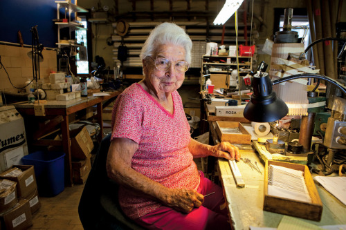 This is Rosa Finnegan, age 100, who works at a Boston area needle factory (Photo by Melanie Stetson Freeman/STAFF).  Rosa is featured in this week's cover story - highlighting seniors working past retirement and the companies that hire them. Find the full story here.
