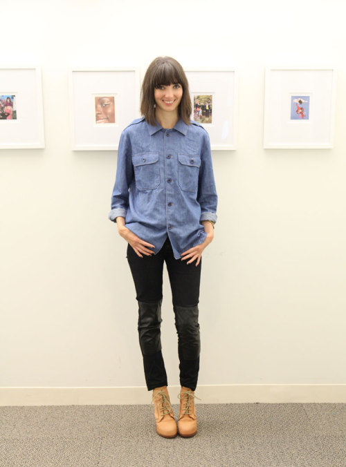 NYFW day one: Teen Vogue web editor Naomi Nevitt wears an A.P.C. denim workshirt, Ay Not Dead pants, and Alexander Wang boots