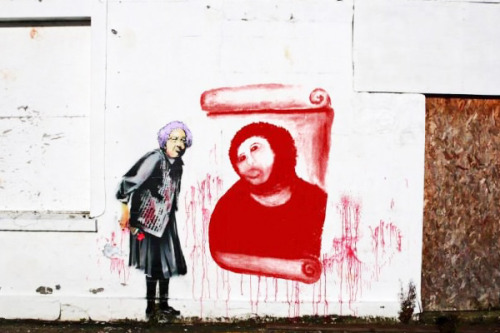 Alleged new Banksy mural commemorates Cecilia Gimenez's art restoration fail.