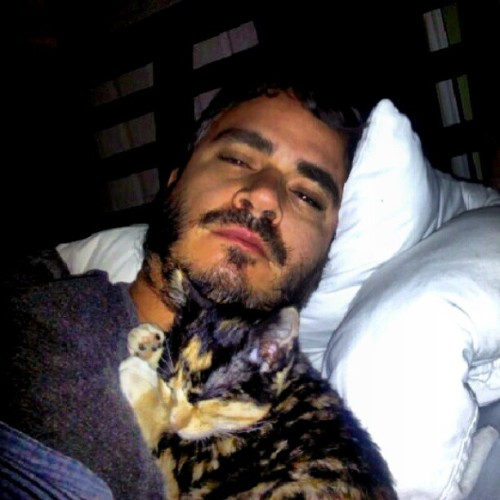 This is how I woke up, napping #kitty on my arm and head on my chest (Taken with Instagram)