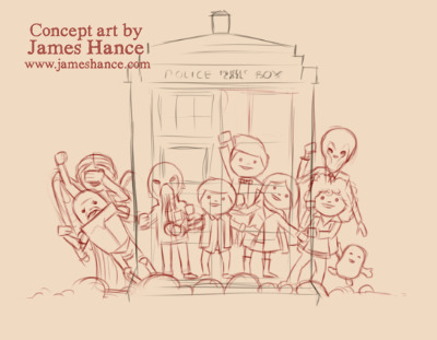 Latest Concept Art - 'It's a Wibbly Wobbly, Timey Wimey Universe' (working title) The gang's all here! x My site / My facebook page / Vole