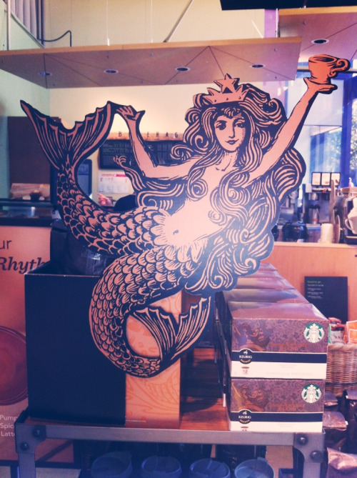 "sofasandquills:  Wait what so the Starbucks mermaid actually has two tails like that? This messed up my whole morning.  Oh yeah! Their first logo was actually based on an old etching of a siren/mermaid from the 15th century.  Back then, mermaids were used by the church in a lot of morality tales warning against ""lustful urges"". The twin tails made it so you could put a vagina in between. Then the stories would be about men falling prey to their sinful delights and before dying violently."