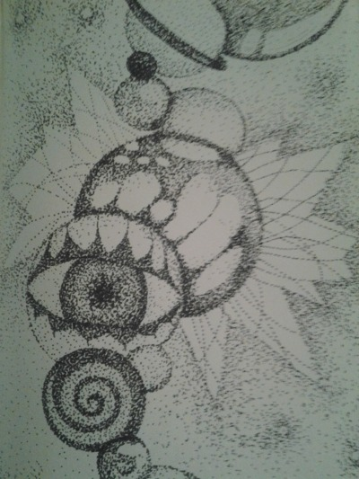 """dotted pic. #1"" Neverova<3 Original Sharpie fine pint pen on 5""x8"" acid free paper this guy was on the train and i saw him doing these little dots to form a big picture, just the the master of all dots, Serat.  I went home that very night and just went free form into the paper with the dots.  If the man on the train can do it, then so can i. -taty"