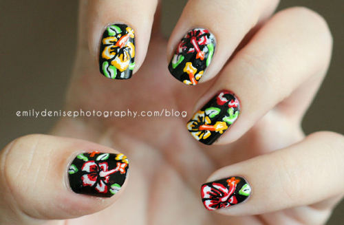 Hibiscus nail art design! Inspired by The Illustrated Nail. Please head over to my blog to read more!