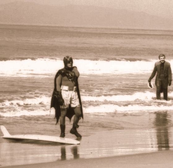"Batman and Joker , 1966 behind scenes Batman ""Surf's Up! Joker's Under!"""