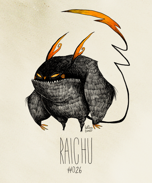 Raichu #026 (Tim Burton Inspired Pokemon Re-Design)