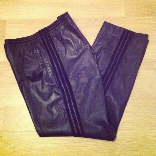 #vintage #1980s Black leather #adidas track pants. (Taken with Instagram at Retro Trend Vintage)