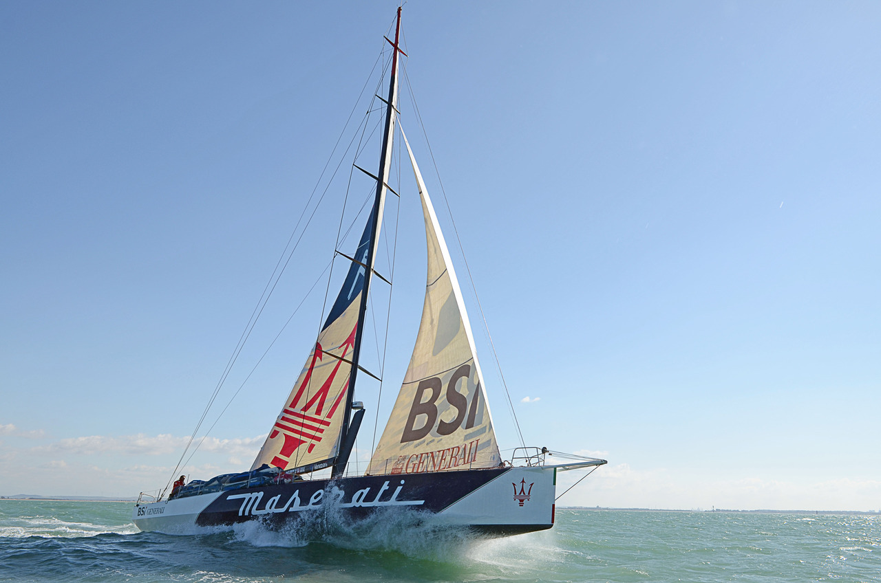 The Maserati racing yacht is a spectacular 21-metre VOR70 (Volvo Ocean Race) yacht that previously participated under a different name in the 2008-2009 round-the-world Volvo Ocean Race. It features a carbon mast over 30m high and a canting keel. It has spent three months in dry dock shedding some 10 percent of its weight in a bid to become the fastest in the world. In February Giovanni Soldini skippered Maserati over the 3,884 nautical miles from Cádiz, Spain to San Salvador, Bahamas in under 11 days, setting the first North Atlantic Challenge time-reference in the monohull category.