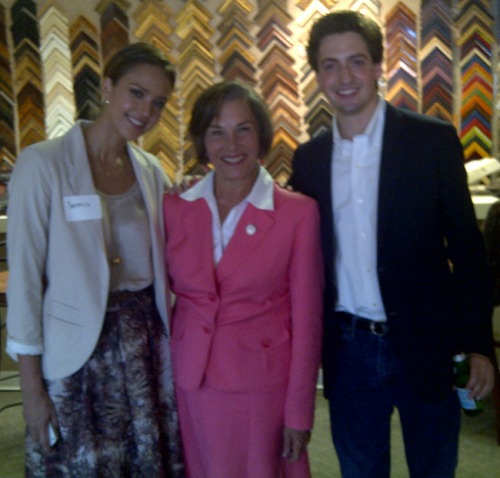 Jessica Alba, Rep. Jan Schakowsky and Matthew Segal at the Gil Gallery in Charlotte, NC.