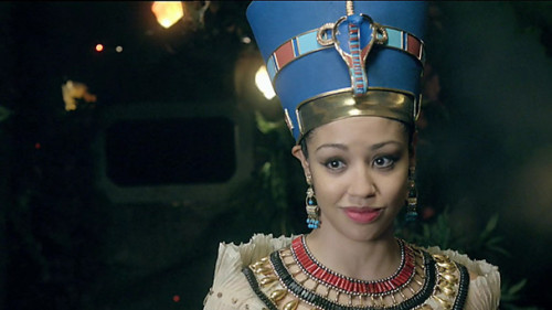 BBC - Blogs - Doctor Who - Who was Queen Nefertiti?  The Doctor has met some impressive figures from history, from Agatha Christie to Elizabeth I, but he's about to be joined by one of the feistiest females of them all: Queen Nefertiti. Nefertiti, who was born around 1370 BC, remains best known for her beauty which endures, even today, in the form of her famous bust, now in Berlin's Neues Museum. The artifact is acclaimed across the world and is one of the most copied works of ancient Egypt, inspiring artists for generations. Indeed her name, Nefertiti, means, 'The beautiful one has arrived'. Want to find out more about the real Nefertiti? Aside from her great beauty, Nefertiti is famous for being one of her nation's most powerful queens. You can read about her and the role of other females in Ancient Egypt in From Warrior Women to Female Pharaohs.  See also: Teh Wikipedia - Nefertiti