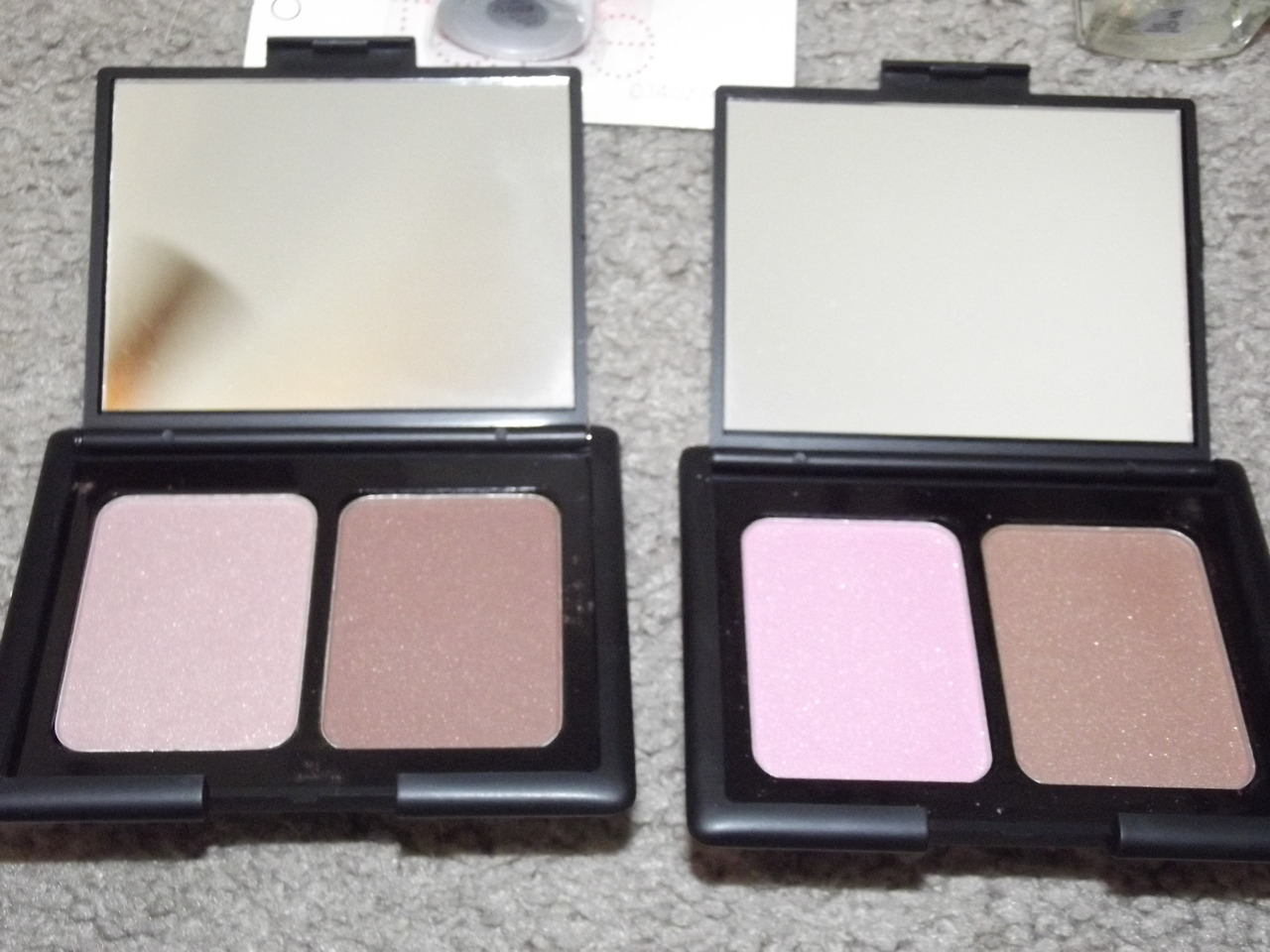 Swatches of the NEW E.L.F. Contouring blush and bronzing duo shades in St. Lucia, Antigua and Turks and Caicos! Check them out here on my blog!