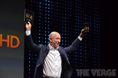 Amazon's Kindle lights a Fire, brightens a screen Kindle updates: As expected, today's Amazon event included official confirmation for a multitude of new Kindle devices. The Kindle Fire HD will be offered in 7 ($199) and 8.9-inch ($299) varieties, while the company's e-reader has been rebranded the Kindle Paperwhite ($119 with Wi-Fi or $179 3G/Wi-Fi). The original Kindle Fire ($159) will also receive an update, and Amazon will jump into the data game with a variety of plans for their Kindle Fire HD 4G LTE ($499) starting at $49.99 a year for 250Mb per month. (Photo via The Verge) source