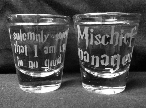(via Set of 2 Solemnly Swear/Mischief Managed Shot by geekyglassware)
