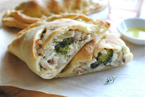 gastrogirl:  creamy chicken and broccoli calzones.