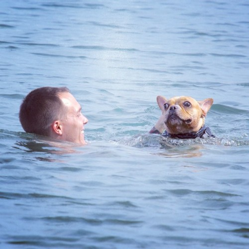 Pony and I swimming on her birthday! Photo taken by that big dummy Dave Gorum.