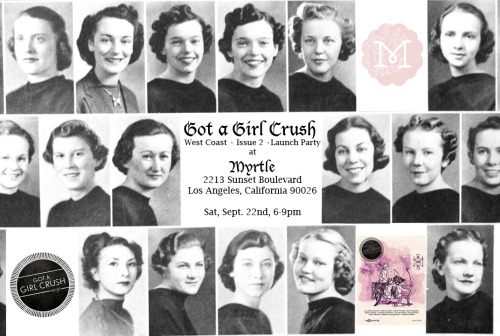 gotagirlcrush:  REMINDER! We're teaming up with Myrtle in Los Angeles for our West Coast launch party on THIS Saturday, September 22nd. Our good friends Deano's Deli will also be parked out front (their roast beef with fried green tomato is da bidness). Come hang out, drink, shop, and eat sandwiches with us!   AND UPDATES!! ** KATE MISS will be bringing some exclusive amulet necklaces! ** brand new arrivals from girl crush designers EVE GRAVEL and GRETCHEN JONES! ** new & further reductions on girl crush designers ILANA KOHN and ERMIE!