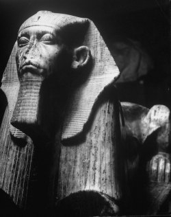 ancientart:  A sculpture of an Egyptian sphinx, half man, half animal, crouches in the Metropolitan Museum of Art, New York. Source: Time & Life Pictures.