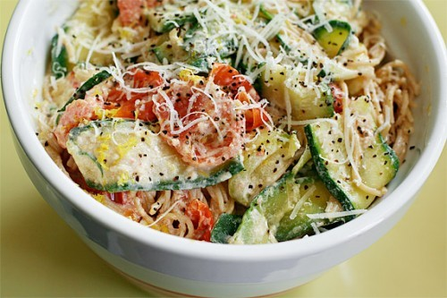 Pasta with Zucchini, Tomatoes, and Creamy Lemon Sauce. From the Jillian Michaels cookbook so you know its good :)