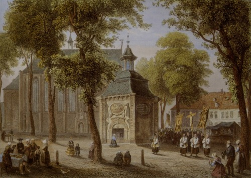 A steel engraving of the Kapellenplatz and the Gnadenkapelle (Chapel of Grace) in Kevelaer, Germany.