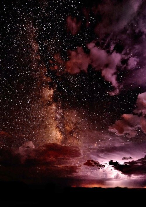 starvingforthesun:  sashastergiou:  opticoverload:Thunder, and the Milky Way  How the sky is meant to be seen.A few more months & I see real sky again.