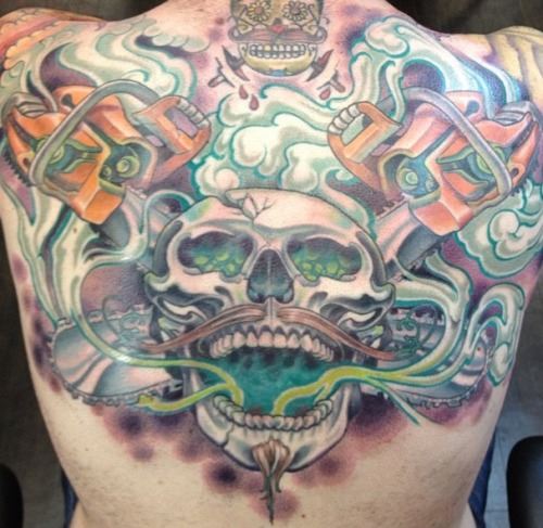 My upper back done by Max Shoberg at Red Rocket Tattoo in midtown Manhattan.