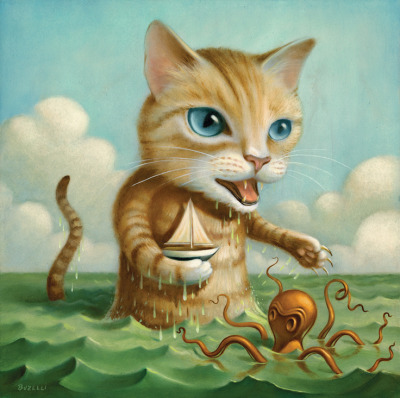"archiemcphee:  Artist Chris Buzelli recently created this awesome painting, entitled Kitty (oil on cradled board), for a friend's wedding invitation. The couple asked a some friends to each illustrate a few sentences about their lives. Chris received this sentence: ""She encouraged him to appy to grad school. He encouraged her to captain her own ship. Uncharted waters lay ahead for them both."" And this wonderful painting, depicting a giant cat cradling a boat and facing off with an octopus, is what he came up with. We love it."