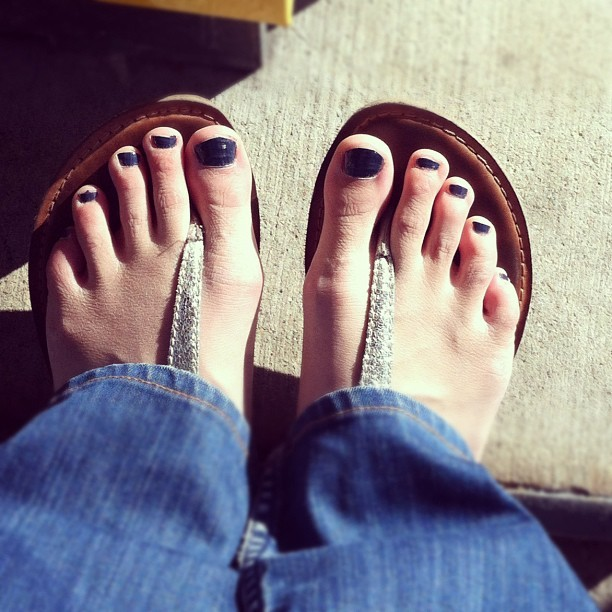 Gave myself a very grown up pedicure.  (Taken with Instagram)