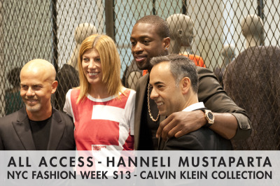 Italo Zucchelli, Vogue's Virginia Smith, Dwyane Wade, and Francisco Costa posing in front of the cool display.