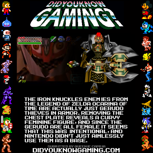 didyouknowgaming:  The Legend of Zelda Ocarina of Time. http://www.youtube.com/watch?v=FquUiAHcNbw  I can't find any evidence of it but I've heard this is the same for the 3DS version. If anyone could confirm/disprove that I'd be grateful.