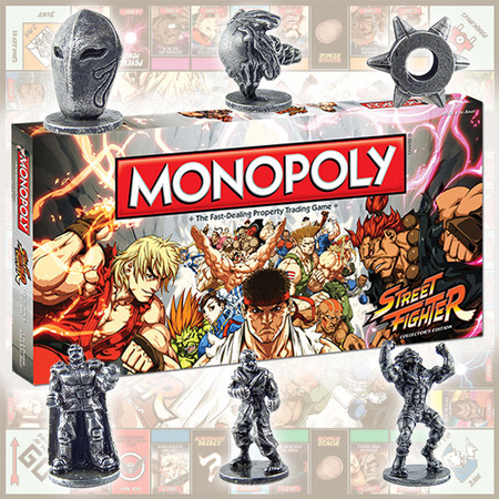 lotusmist:  Remember when USAopoly announced MONOPOLY: Street Fighter Collector's Edition? Then, they asked YOU to vote and choose the 6 tokens that will be in the final version of the game… Now here they are! The game is available now on Amazon and the tokens were made! See in the picture above (from left to right): Vega's mask, Hadouken, Chun-Li's wrist cuff, M. Bison, Ryu, and Blanka! You'd also be interested in knowing that there were ALL NEW Artwork made exclusively for this set! It is indeed a Collector's Edition. Here's a couple of extra details: Features: - 6 collectible tokens - 22 of the most valuable fighting arenas in the Street Fighter video game covering 25 years - Traditional Monopoly game play with a 60-minute speed play option Game Play: Players will buy, sell and trade fighting arenas found in the video game series. Players improve their properties with Training Rooms and Dojos. Locations: Shadaloo Headquarters, Gouken's Dojo, Thailand Temple, Spanish Restaurant, U.S. Air Force Base, U.S.S.R. Foundry, Downtown Metro City, Saikyo Dojo, and MORE… Yes, I know you want to find out more and see the aforementioned exclusive artwork. We'll get you that soon! Or you can just get the game from Amazon ;)