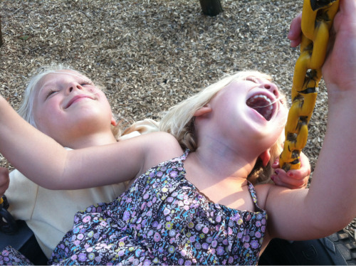 Happy girls on a tire swing.