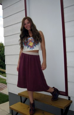 Crop top and skirt from Aritzia Shoes from Spring