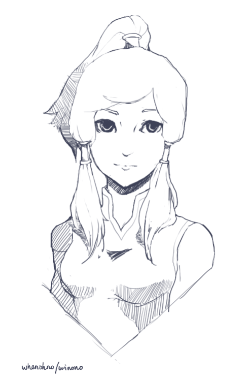 whenohno:  Korra - Paint Tool SAI I'll get around to coloring it eventually…