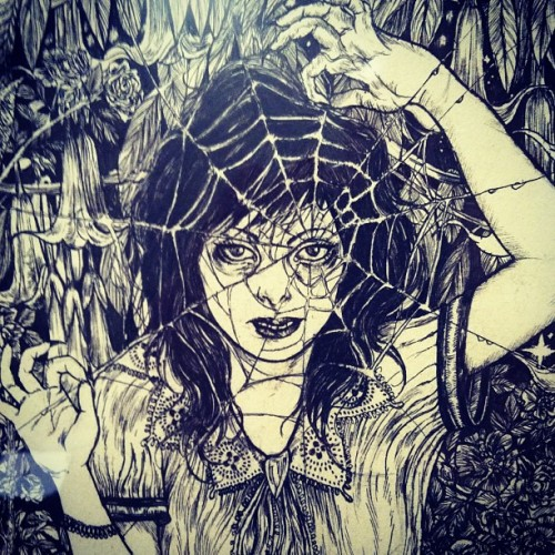 victoriousvocabulary:  ARACHNOMANIA [noun] an obsession with arachnids, particularly spiders. [Jeremy Hush]  Cool except this is actually by my friend Dilek Baykara. Find more of her work here on her blog.