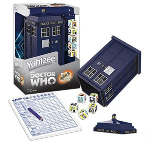 mia-pet:  For My Whovian Followers :) Doctor Who Yahtzee 50th Anniversary Collector's Edition GameDoctor Who fans who love a good game of Yahtzee are in for a treat. The Doctor Who Yahtzee 50th Anniversary Collector's Edition Game lets you play the game in style. The most awesome part of this game is that the dice cup is the Tardis. Grab a couple of companions and settle in for a fun game. The five dice feature images of the Doctor's foes. It's a Yahtzee game through time and space. This makes a great gift for any Doctor Who fan. After you buy one for yourself of course. Pre-order it for just $24.99 from Entertainment Earth or Urban Collector.