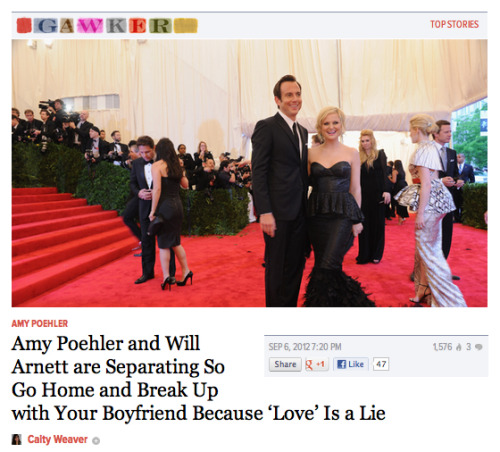 donstar2910:  After 9 years of being married, Amy Poehler and Will Arnett are separating. I have officially given up on love and trying to find someone in the universe. The end.