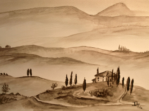 Morning Landscape  Morning Landscape by Derek Thornton Sepia Ink  View Post shared via WordPress.com
