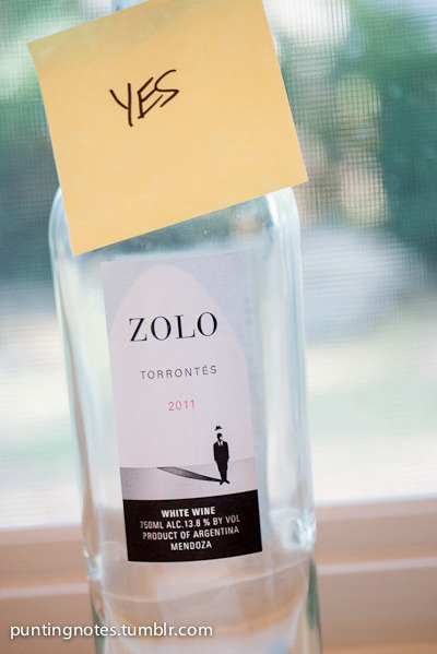 Yes, I really like this Torrontes from Zolo. 2011 from Argentina. It was great with my clam chowder and crab cakes. And it's only like $11 or something.