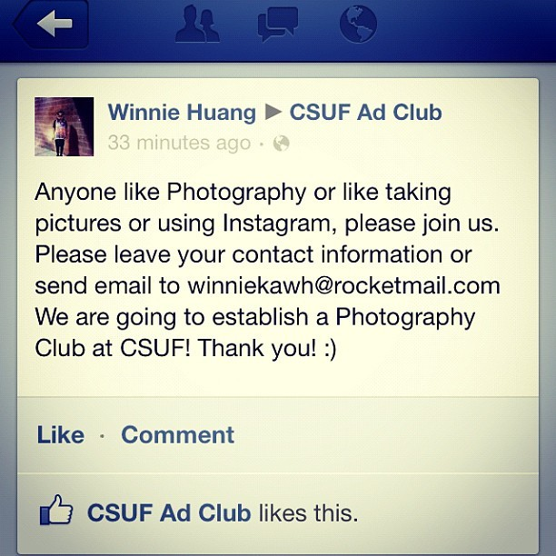 Yes!! #csuf#adclub#facebook#photography#instagram#club If you like, please send ur contact information to winniekawh@rocketmail.com Thank you so much! We will establish a #photographyclub ! And join us on #facebook  Photography CSU Fullerton http://www.facebook.com/groups/photographycsuf (Taken with Instagram at Visual Arts Building #CSUF)