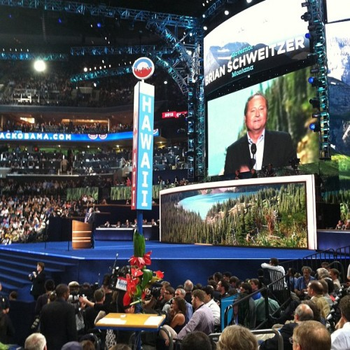 "Gov. Brian Schweitzer of Montana, ""Mitt Romney said of finding Osama bin Laden,'Not worth moving heaven and earth.'"" #dnc2012 #clt  (Taken with Instagram at #DNC2012 Convention Hall)"